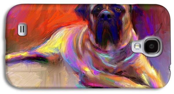 Original Drawings Galaxy S4 Cases - Bullmastiff dog painting Galaxy S4 Case by Svetlana Novikova