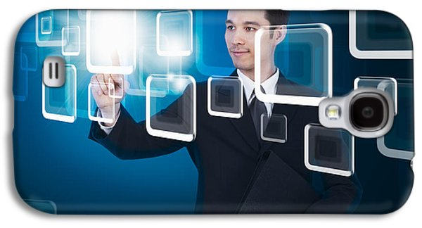 Cyberspace Galaxy S4 Cases - Businessman Pressing Touchscreen Galaxy S4 Case by Setsiri Silapasuwanchai