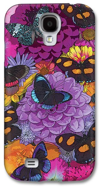 Digital Paintings Galaxy S4 Cases - Butterflies and Flowers 2 Galaxy S4 Case by JQ Licensing