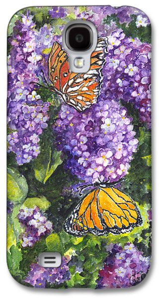 Lilacs Drawings Galaxy S4 Cases - Butterflies and Lilacs Galaxy S4 Case by Carol Wisniewski