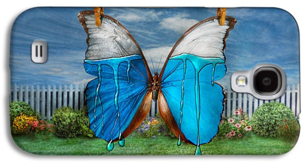 Suburban Digital Art Galaxy S4 Cases - Butterfly - Morpho - I hate it when the colors run Galaxy S4 Case by Mike Savad