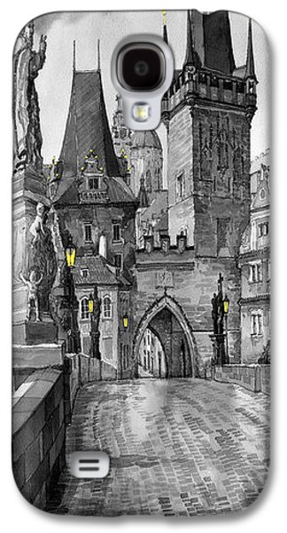 Charles Digital Art Galaxy S4 Cases - BW Prague Charles Bridge 02 Galaxy S4 Case by Yuriy  Shevchuk