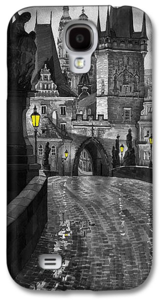 Charles Digital Art Galaxy S4 Cases - BW Prague Charles Bridge 03 Galaxy S4 Case by Yuriy  Shevchuk