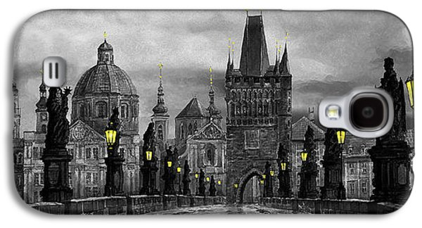 Charles Digital Art Galaxy S4 Cases - BW Prague Charles Bridge 04 Galaxy S4 Case by Yuriy  Shevchuk