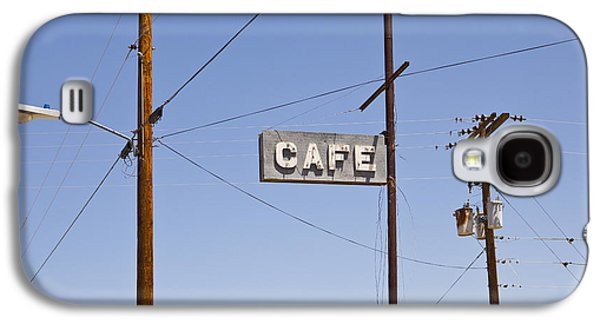 Electrical Equipment Photographs Galaxy S4 Cases - Cafe Sign Power And Telephone Cables Galaxy S4 Case by Bryan Mullennix
