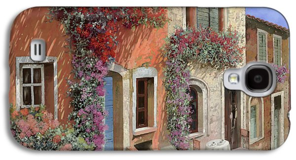 Streetscenes Paintings Galaxy S4 Cases - Caffe Sulla Discesa Galaxy S4 Case by Guido Borelli