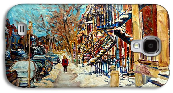 Montreal Street Life Paintings Galaxy S4 Cases - Canadian Art And Canadian Artists Galaxy S4 Case by Carole Spandau