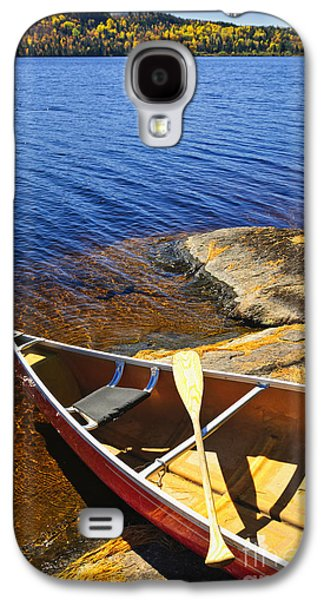 Canoe Galaxy S4 Cases - Canoe on shore Galaxy S4 Case by Elena Elisseeva