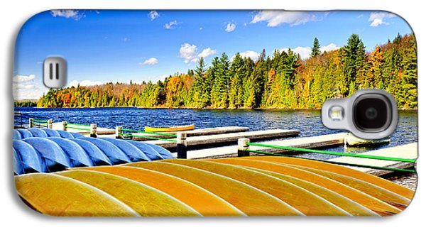 Canoe Galaxy S4 Cases - Canoes on autumn lake Galaxy S4 Case by Elena Elisseeva