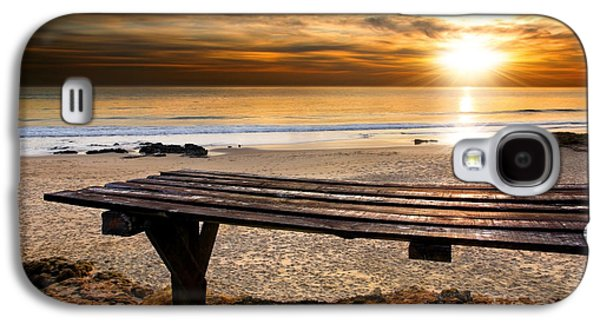Sunset Abstract Galaxy S4 Cases - Carcavelos Beach Galaxy S4 Case by Carlos Caetano