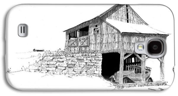 Old Barn Drawing Galaxy S4 Cases - Carriage House Galaxy S4 Case by Donald Black