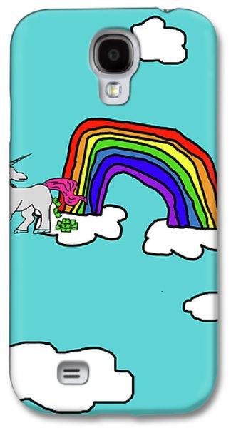 Puppy Digital Art Galaxy S4 Cases - Cash Crap Unicorn Galaxy S4 Case by Jera Sky