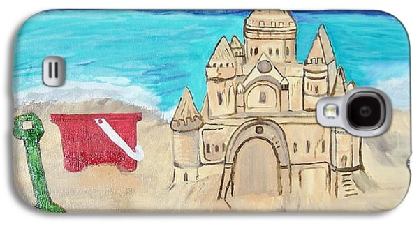 Sand Castles Paintings Galaxy S4 Cases - Castles in the Sand Galaxy S4 Case by Stefanie Nellett