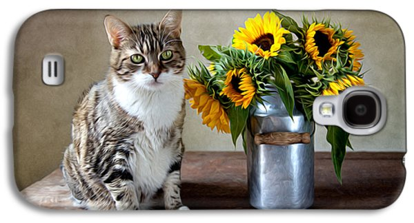 Floral Still Life Galaxy S4 Cases - Cat and Sunflowers Galaxy S4 Case by Nailia Schwarz