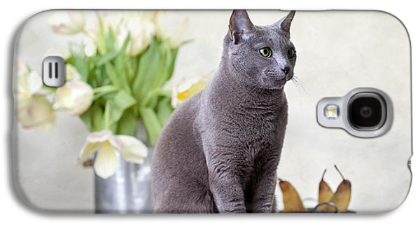 Grey Photographs Galaxy S4 Cases - Cat and Tulips Galaxy S4 Case by Nailia Schwarz