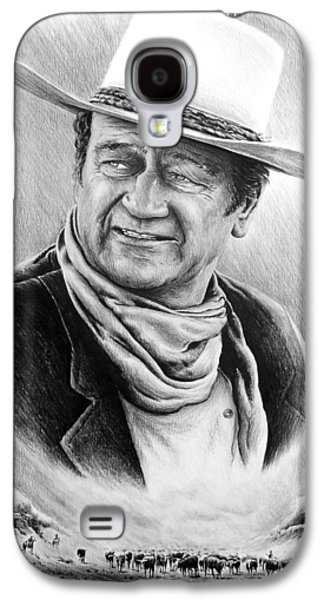John Wayne Drawings Galaxy S4 Cases - Cattle Drive bw edit 1 Galaxy S4 Case by Andrew Read