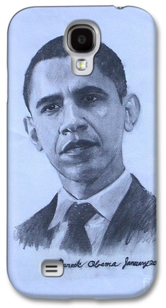 Barack Obama Drawings Galaxy S4 Cases - portrait of Barack Obama Galaxy S4 Case by Sarah Mariam Yi