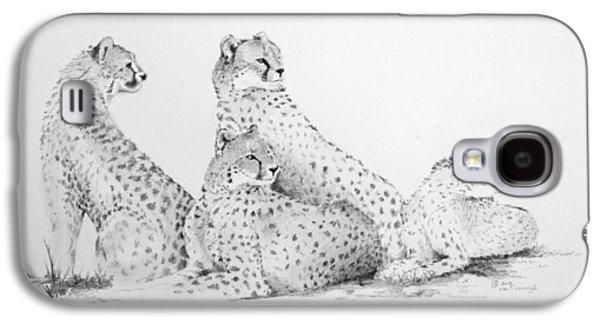 Cheetah Drawings Galaxy S4 Cases - Cheetah Group Galaxy S4 Case by Alan Pickersgill