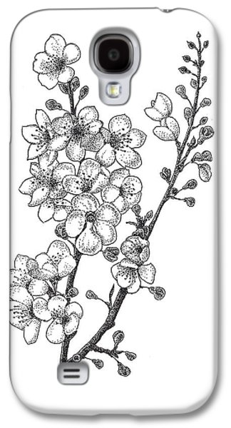 Cherry Blossoms Drawings Galaxy S4 Cases - Cherry Blossems Galaxy S4 Case by Christy Beckwith