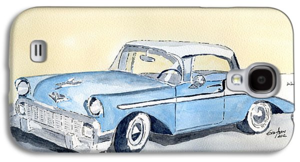 Old Car Drawings Galaxy S4 Cases - Chevy Bel Air - 56 Galaxy S4 Case by Eva Ason