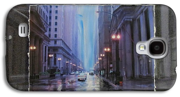 Lamp Post Mixed Media Galaxy S4 Cases - Chicago Rainy Street expanded Galaxy S4 Case by Anita Burgermeister