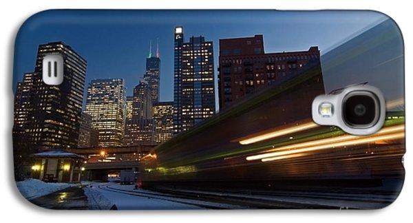 Transportation Photographs Galaxy S4 Cases - Chicago Train Blur Galaxy S4 Case by Sven Brogren