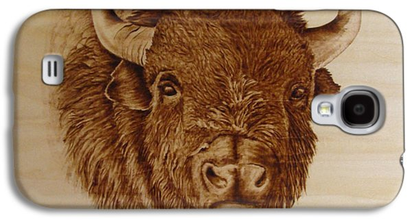 Bison Pyrography Galaxy S4 Cases - Chief Galaxy S4 Case by Jo Schwartz