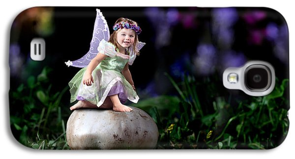 Daydreams Photographs Galaxy S4 Cases - Child Fairy on Mushroom Galaxy S4 Case by Cindy Singleton