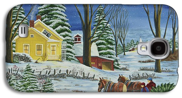 New England Snow Scene Paintings Galaxy S4 Cases - Christmas Eve In The Country Galaxy S4 Case by Charlotte Blanchard