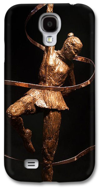 Sports Sculptures Galaxy S4 Cases - Citius Altius Fortius Olympic Art Gymnast over Black Galaxy S4 Case by Adam Long