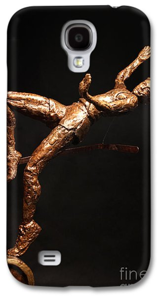Sports Sculptures Galaxy S4 Cases - Citius Altius Fortius Olympic Art High Jumper on Black Galaxy S4 Case by Adam Long