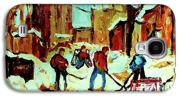 Afterschool Hockey Paintings Galaxy S4 Cases - City Of Montreal Hockey Our National Pastime Galaxy S4 Case by Carole Spandau