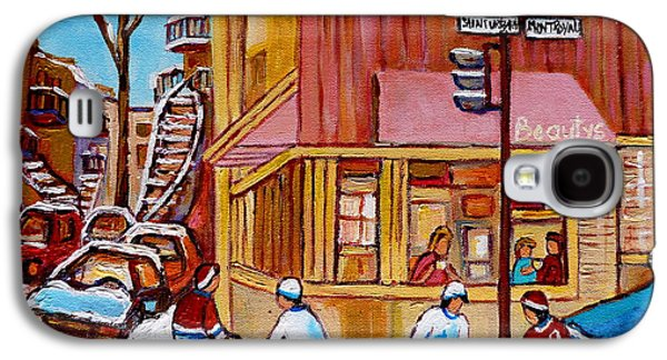 Streethockey Paintings Galaxy S4 Cases - City Of Montreal St. Urbain And Mont Royal Beautys With Hockey Galaxy S4 Case by Carole Spandau