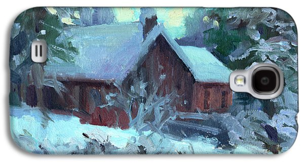 Snow Scene Galaxy S4 Cases - Cle Elum Cabin Galaxy S4 Case by Diane McClary