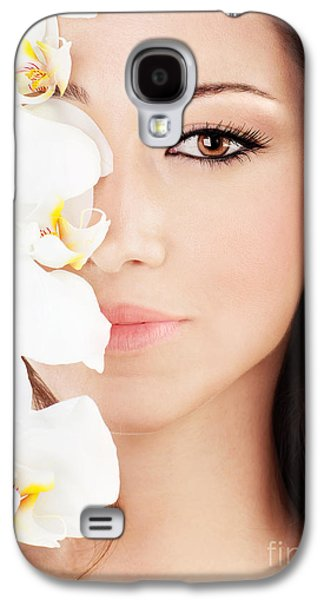 Concept Photographs Galaxy S4 Cases - Closeup on beautiful face with flowers Galaxy S4 Case by Anna Omelchenko