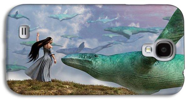 Whale Digital Art Galaxy S4 Cases - Cloud Whales Galaxy S4 Case by Daniel Eskridge