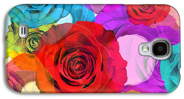 Floral Digital Art Galaxy S4 Cases - Colorful Floral Design  Galaxy S4 Case by Setsiri Silapasuwanchai