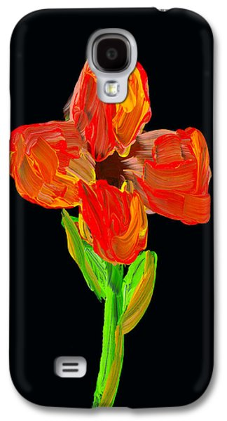 Bloosom Galaxy S4 Cases - Colorful Flower Painting On Black Background Galaxy S4 Case by Keith Webber Jr
