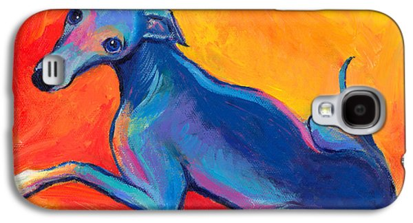 Drawing Galaxy S4 Cases - Colorful Greyhound Whippet dog painting Galaxy S4 Case by Svetlana Novikova