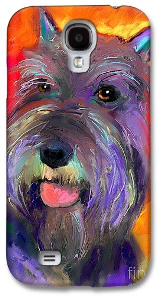 Puppies Mixed Media Galaxy S4 Cases - Colorful Schnauzer dog portrait print Galaxy S4 Case by Svetlana Novikova