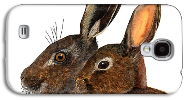 Nature Study Drawings Galaxy S4 Cases - Comparison hare rabbit ears - Oryctolagus cuniculus - Genus lepus - Vergleich Hase Kaninchen Ohren Galaxy S4 Case by Urft Valley Art