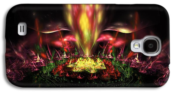 Abstract Fountain Galaxy S4 Cases - Computer Generated Red Yellow Green Abstract Fractal Flame Galaxy S4 Case by Keith Webber Jr