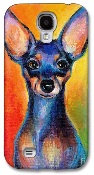 Puppy Drawings Galaxy S4 Cases - Contemporary colorful Chihuahua chiuaua painting Galaxy S4 Case by Svetlana Novikova