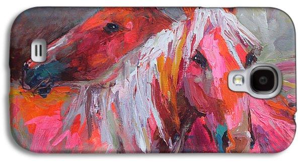 Textured Drawings Galaxy S4 Cases - Contemporary Horses painting Galaxy S4 Case by Svetlana Novikova
