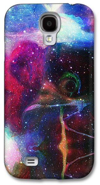 Abstract Digital Galaxy S4 Cases - Cosmic Connection Galaxy S4 Case by Linda Sannuti