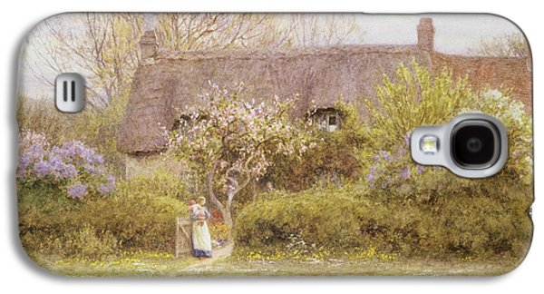 Country Paintings Galaxy S4 Cases - Cottage Freshwater Isle of Wight Galaxy S4 Case by Helen Allingham