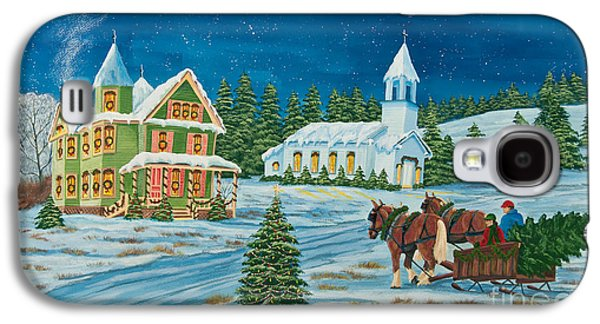New England Snow Scene Paintings Galaxy S4 Cases - Country Christmas Galaxy S4 Case by Charlotte Blanchard