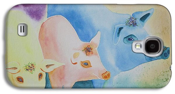 Piglets Paintings Galaxy S4 Cases - County Fair Galaxy S4 Case by Tracy L Teeter
