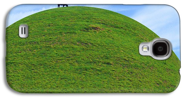 Black Top Galaxy S4 Cases - Cow Eating On Round Top Hill Galaxy S4 Case by Mike McGlothlen