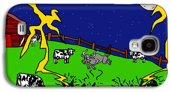 Puppy Digital Art Galaxy S4 Cases - Cow Tipping Galaxy S4 Case by Jera Sky